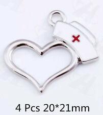 4 Pcs Antique Silver Heart Shape Nurse Cap Charms Medical RN Hat Pendant Charms
