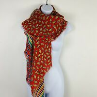 Echo Womens Scarf Wrap Shawl One Size Square Red Floral Classic G41