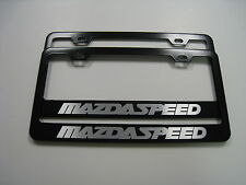 """2 Brand New """"MAZDASPEED"""" BLACK Metal License Plate Frame Front&Rear"""