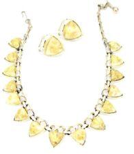 Coro Vintage Yellow Lucite Confetti  Demi-Parure Necklace  Earrings 1940S