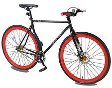 Merax 54cm Single Speed Road Bike Fixed Gear Bike with Disc Brake Red
