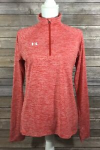 Under Armour Womens 1/4 Zip Novelty Tech Loose Fit Shirt Small Heather Red  B10