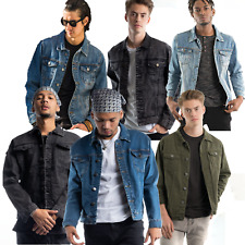 Mens Denim Jacket Premium Jeans Slim Fit Trucker Jacket Ripped Denim Jean Jacket
