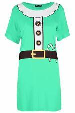 Womens Ladies Christmas Baggy Reindeer Pudding Oversized Xmas Mini T Shirt Dress