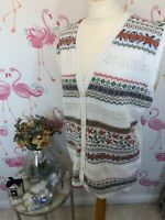 Vintage White Knitted Grandma Fugly Sleeveless Button Cardigan L