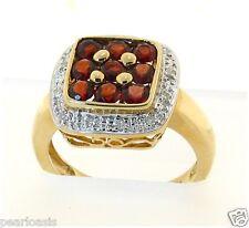 Genuine Garnet and Diamond Ring, 14K Yellow Gold, 5.2 Grams, Size 7 NEW