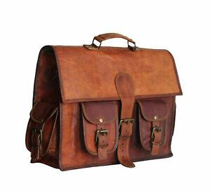 VINTAGE HANDMADE GOAT LEATHER MESSENGER BAGS SATCHEL BUSINESS BAG