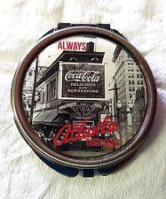 COCA COLA Metal Pocket Compact Purse Mirror w/  Photo of ATLANTA  Coca Cola Logo