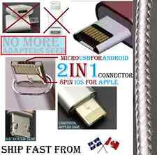 #1 FIRST 2in1 DUAL 8pin MicroUSB Cable Cord Lightning ios Micro USB Android pin