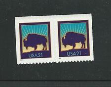 3484 & 3484A Pair 21¢ Bison MNH with 3484A on the left