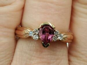Karis Rose Gold Plated Pear Pink Topaz Cubic Zirconia Ring Size 7