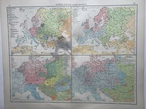 1899 Europe Ethnographic & Religion Chart Original Antique Map by Richard Andree