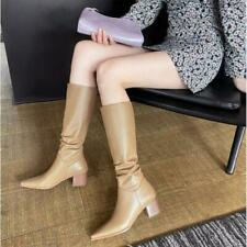 Women's Fashion Leather Elastic Top Block Heel Pull On Mid Calf Boots Shoes SKGB