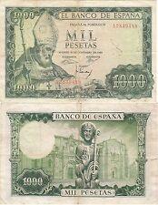 C048 BILLETE ESPAÑA 1000 PESETAS 1965 CON ROTURA