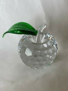 Large Clear Crystal Teacher Gift Apple Fruit Collectible Figurine Paperweight