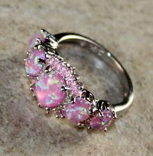 SILVER Elegant Pink Fire Opal & Pink Kunzite Ring Size 6, WR41604