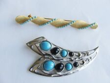 2 Brooch/Pin Lot Faux Turquoise Ribbon Silver & Gold Tone 1 Signed TAT