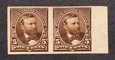 US 223P5 5c Grant Imperf Pair on Stamp Paper PH OG SCV $225