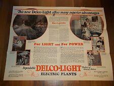 GM 1928 DELCO-LIGHT Electric Power Plant POSTER Storage Battery ADV FOLDER MINT