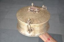 Old Round Inlay Engraved Solid Handcrafted Jewellery Box , Rich Patina