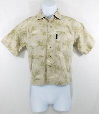 Columbia Youth Boys Tan Green Floral Short Sleeve Button Down shirt Sz-Small S