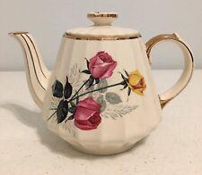 "Sadler England Tea Pot 3025 Rare Vintage Long Stem Roses Gold Trim 6"" Tall"