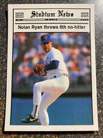 "Nolan Ryan 1990 Stadium News Glossy ""Throws 6th No Hitter"" RARE UNLICENSED CARD"