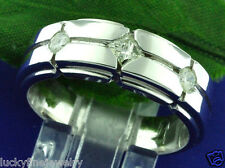 0.40 ct 14k Solid White Gold Mens Diamond Ring 3 Stone 9.0 grams  Princess Cut