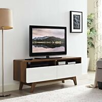 """Mid-Century Modern 47"""" Wood TV Stand Entertainment Media Console in Walnut White"""