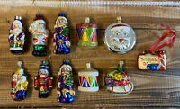 Lot of 11 Vintage Hand Crafted Blown Glass Christmas Ornaments