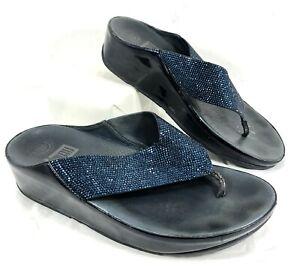 GUC Women's FitFlop Supernavy Flip Flop Blue leather & Crystals Sz 8