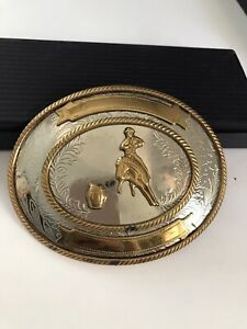 Vintage Cutting Horse German Silver Rodeo Cowboy Trophy Belt Buckle
