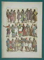 WEST ASIA Costume Lybia Cyprus Philistines Tribes - 1883 Color Litho Print