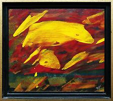 Yellow on Red Gelbe Formen auf Rot, Öllack-Gemälde, 1990er J. Jozsef Toth *1944