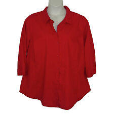 Worthington Womens Plus Sz 2X 3/4 Sleeve Red Button Front Collared Spring Top