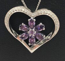 """Sterling Silver 925 Purple Amethyst Flower CZ Cluster Heart Chunky Necklace 18"""""""