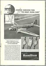 1937 HAMILTON WATCH advertisement, Eastern Air Lines DC-3