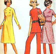 "Vintage 70s Mod DRESS Tunic & Pants Sewing Pattern Bust 34"" Sz 10 RETRO Panel"