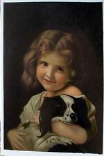 Ölbilder Ölgemälde Junges Mädchen mit Spaniel von Hugues Merle 60cm x 80cm