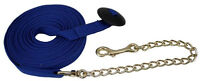 ENGLISH WESTERN HORSE LUNGE LINE - 25' FLAT COTTON WEB WITH BRASS CHAIN & SNAP