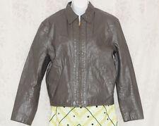Americana Leather Zipper Jacket Coat Gray Grey Womens Sporty Sleek Bomber Club 8