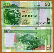 Hong Kong, $50, 2009, HSBC, P-208f, UNC > Lion