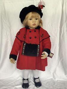 "Vintage Ashton Drake 30"" Doll Maddie's Christmas Visit Waltraud Hanl Red Coat"