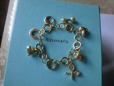 Authentic Tiffany Co 18k Yellow Gold Diamond Charm Bracelet