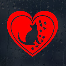 Hermoso Corazón Gato estrellas alrededor de Coche Decal Pegatina De Vinilo Para Ventana Parachoques