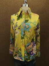 Vtg 60s New NOS Colorful Chic Cottage Floral Button Down Casual Shirt M Hipster