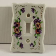 Vtg Japan Porcelain Pansies Purple Floral S Cover Single light switch plate