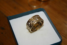 100% Genuine Solid 9ct Yellow Gold  Filigree  Ring . Size P.  9mm Wide