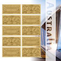 WR Gold Foil Old Australia 1 Dollar Banknotes Set 10pcs Souvenir Collection Gift