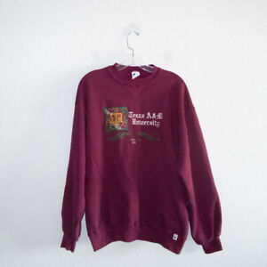 Vintage Texas AM A&M University Maroon Crew-Neck Pullover Sweatshirt XL Aggies